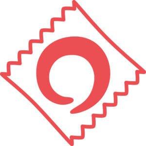 κόκκινο προφυλακτικό σε λευκό φόντο